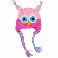 Handmade Toddler Baby Owls Crochet Knit Woolly Cap Earflap Hat N3