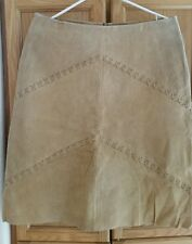 "NWT Brand is ""PRETTY V GOOD"" SUEDE LEATHER LINED SKIRT SZ LARGE Beige Tan"