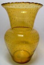 WMF Perlora Vase,Bauhaus,Art Deco Glas Honiggelb Luftblasennetz Entw.W.Dexel