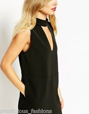 Finders Keepers Divine Eternal Plunge Evening Cut V High Neck Dress Black S 8 10
