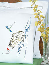 Embroidery Kit ~ Jack Dempsey Needle Art Fish Pillowcase Pair #1600-498