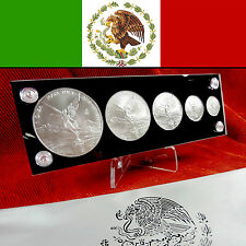 2013 MEXICO - Silver Libertad 5 Coin BU Set in Holder & Pouch 1 Oz & Fractionals