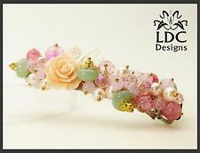 Rose Floral Glass Beaded Pink Pastel Gold French Clip Hair Barrette Jewelry