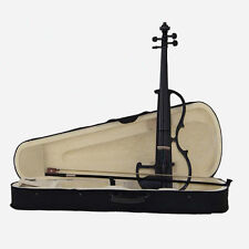 Black 4/4 Hand-Made Electric Violin +Bow +Rosin +Case Power Sound Student Violin