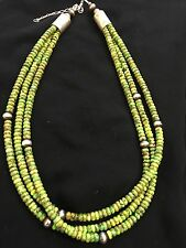 Native American Sterling Silver Green Turquoise   Bead Necklace