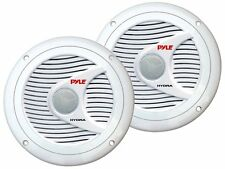 Pyle 6.5 Dual Marine Speakers. Waterproof Surface Mount Molded Grill White New