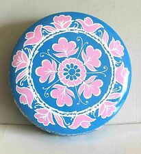 "Blue Pink White Metal Tin Birds Flowers Avon Canada 5.25"" across FREE SH"