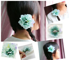 Green Hair Accessory Silk Flower Hairpin Hair Clip For Bridal Wedding Prom Party