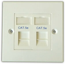 Cat5e 2 Way Data Network Outlet Kit, Faceplate, Modules. LAN Ethernet Wall Mount