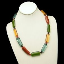 Brightly Colored Long Lucite Tube Beads Necklace Vintage Very Unique