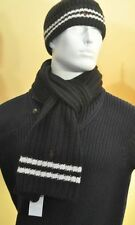 New Polo Ralph Lauren Mens Wool Scarf Black White Striped Ribbed