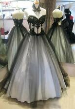 Victorian Gothic Tulle Evening Dresses Black/White Lace Appliques Formal Gowns