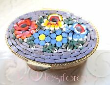 Vintage Micro Mosaic Inlaid Floral Bouquet Design Gold Embossed Pill Trinket Box