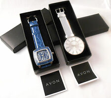 STYLISH 2-PC LOT AVON FASHIONABLE ANALOG QUARTZ WATCHES IN BLUE AND SILVER NOS