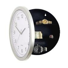 Wall Clock With Secret Hidden Compartment Safe Money Stash Jewellery Silver