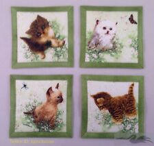 "Mug Rug Coasters Kittens Handmade 4"" x 4"" Cats 100% Cotton Cute"