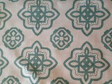 CONTEMPARY MEDALLION AQUA/ WHITE GEOMETRIC  LINEN PRINT UPHOLSTERY  FABRIC