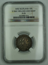 1692 Scotland 10 Shilling Silver Coin S-5661 William & Mary NGC F15 (Better) AKR