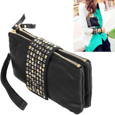 Rivet Evening Bag black stud studded fashion hand zipped clutch purse fashion
