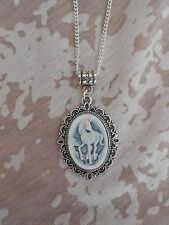 LOVELY WHITE ON BLUE UNICORN CAMEO NECKLACE