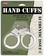 Metal Handcuffs Hand Cuffs Costume Play Halloween Toy Keys Childs NEW POLICE