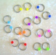 "5 Pair Wholesale Neon 16g 5/16"" Captive Bead Rings Body Jewelry Lot 10 Piercings"