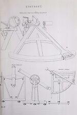 Quadrante, navigazione della nave-Antico B/N stampa litografia-ENCICLOPEDIA c19th