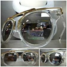 Men's or Women CLASSIC VINTAGE RETRO Style SUN GLASSES Transparent & Gold Frame