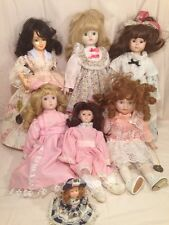 Vintage Assorted Lot of 6 Porcelain Brinns 1980's Dolls