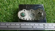 Roman Bronze Silverered beautiful ornate mount with green stone museum quality