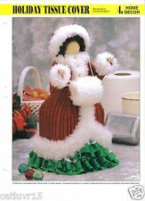 Holiday Lady Bath Tissue Roll Cover  ~  plastic canvas pattern
