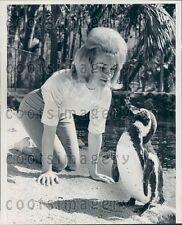 1964 Woman & Penguin Nature's Giant Fish Bowl Homosassa Springs FL Press Photo