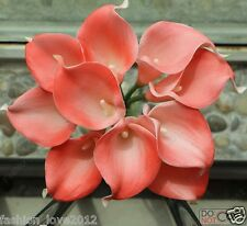 Free Shipping 10PCS Latex Real Touch Flowers Coral Calla Lilies Bouquet Natural