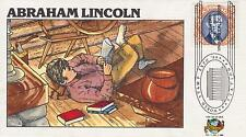 1989 FRED COLLINS HAND-PAINTED FDC ABRAHAM LINCOLN -WORLD STAMP EXPO CANCEL #3