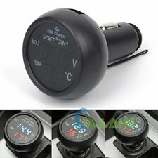 3in1 Digital LED Voltmeter Thermometer Battery Meter Monitor Car USB Charger New