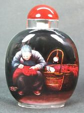 Chinese Village Person Inside Hand Painted Glass Snuff Bottle:Gift Box