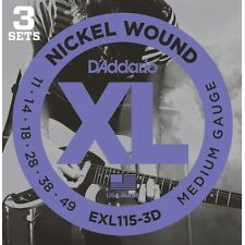 D'addario Sets EXL115 3-D 11-49  Blues Jazz Rock Electric Guitar Strings 3 Pack
