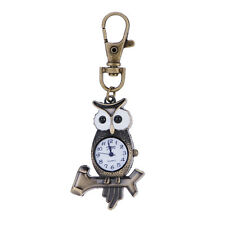 Funny Bronze Owl on Tree Key Ring Quartz Watch Men Boy Lady Girl Women Unisex