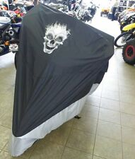 """Fit Harley CVO Road Glide Ultra Motorcycle Cover w/FLAME SKULL Logo 108""""L.New"""