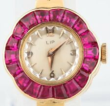 18k Yellow Gold Women's Lip Hand-Winding Ruby Bezel Watch w/ Gold Band