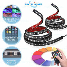2 pcs RGB LED Car Truck Bed Light Strip Waterproof Neon Glow Lamp Remote Control