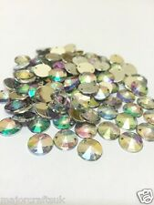100pcs Crystal AB 10mm Flat Back Pointed Sew-on Acrylic Rivoli Rhinestones C1