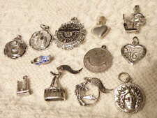 STERLING SILVER CHARMS  VINTAGE LOT OF 12 VARIOUS THEMES ALL MARKED STG OR 925