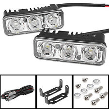 2x White 7000K 3-LED Car DRL Daytime Running Light Fog Lamp w/ Mounting Bracket