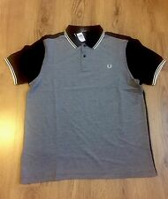 Fred Perry Camisa Polo Piqué bloque de color, tamaño XL, Negro