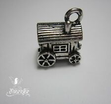 1 gypsy carriage or french roulotte charm pendant for jewellery making, craft,