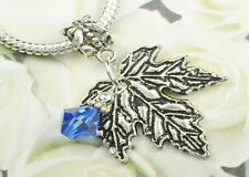 Sapphire Crystal Maple Leaf Charm Pendant w Swarovski Elements Europen Style