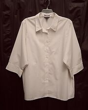 LANDS END BUTTON FRONT FLIP CUFF WRINKLE FREE BROADCLOTH TOP SHIRT BLOUSE~34W~5X