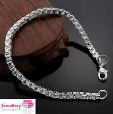 925 Sterling Silver 4mm Square Box Chain Bracelet Bangle Jewellery Womens Ladies