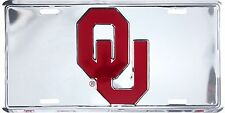 University of Oklahoma Sooners Chrome Metal License Plate Auto Tag Sign